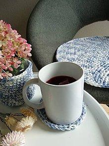 Úžitkový textil - Podsedák, podšálka, (nádobka - MODRÁ) - 9873703_