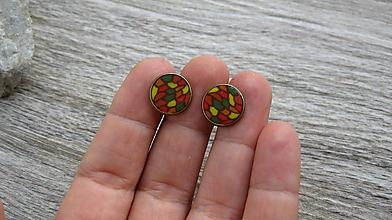Náušnice - Napichovačky 13mm,farebné - chirurgická oceľ (jesenná mozaika, farba kovu bronzová, č. 2319)) - 9873376_