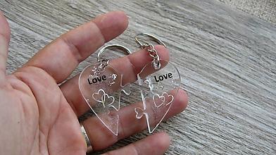 Kľúčenky - Kľúčenka pre pár puzzle srdce (pre pár Love, č. 2330) - 9873519_