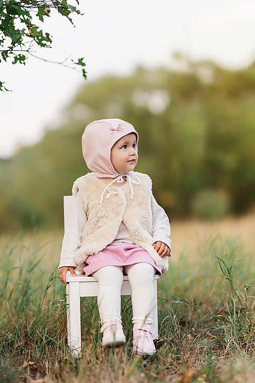 Detské čiapky - Obojstranný čepček Old pink & biela - 9873809_