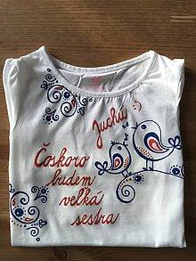 Detské oblečenie - Maľované tričko pre budúcu sestričku (Folk) - 9871165_