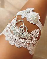 Bielizeň/Plavky - Set Luxusných svadobných  podväzkov Light Blue - 9872204_