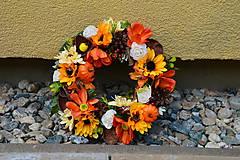 - Jesenný veniec so slnečnicami a tekvicami 30cm - 9872808_