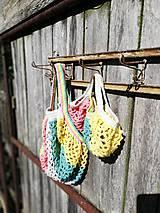 Nákupné tašky - Pestrofarebná háčkovaná sieťovka 2v1 - 9874757_
