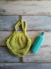 Nákupné tašky - Veselá háčkovaná sieťovka  (Zelená) - 9874710_