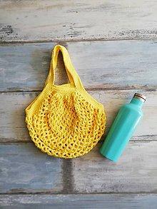 Nákupné tašky - Veselá háčkovaná sieťovka  (Žltá) - 9874711_