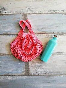 Nákupné tašky - Veselá háčkovaná sieťovka  (Ružová) - 9874715_