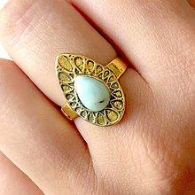 Prstene - Antique Gold Larimar Ring / Prsteň s prírodným larimarom v starozlatom prevedení /0049 - 9876438_