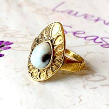 Prstene - Antique Gold Larimar Ring / Prsteň s prírodným larimarom v starozlatom prevedení /0048 - 9876487_