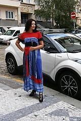 Šaty - lel,maxišaty hippie modro červené - 9874242_