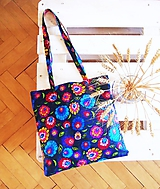 Nákupné tašky - Ekotaška farebný folk - modrá - 9874832_