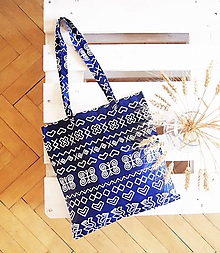 Nákupné tašky - Ekotaška Čičmany- modrá - 9874578_