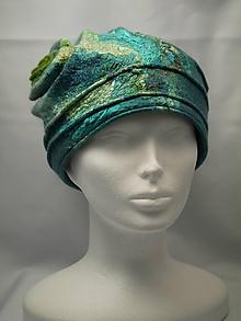 Čiapky - Vintage čiapka špirála zeleno-tyrkysovej farby - 9874120_