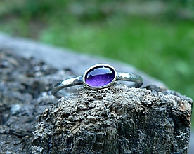 Prstene - Strieborný Prsteň s Ametystom - 9876075_