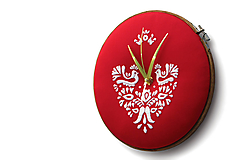 Hodiny - Jablonica, ručne vyšívané nástenné hodiny - 9874922_