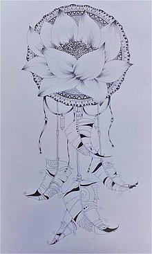 Kresby - lapač snov s mandalou (A4 - A1 - Tyrkysová) - 9876874_