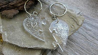 Kľúčenky - Kľúčenka pre pár puzzle srdce (strieborné srdiečka č. 2335) - 9875848_