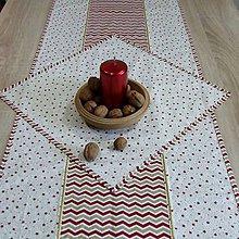 Úžitkový textil - Zlato červené hviezdičky a chevron na smotanovej - štvorcový obrúsok 40x40 - 9874188_