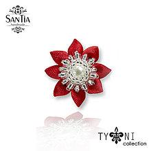 Odznaky/Brošne - Brošňa: Kvietok s perličkami  (3 cm - Červená) - 9874461_