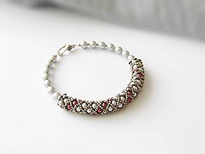 Náramky - Šedo-bordový perličkový náramok - 9875715_