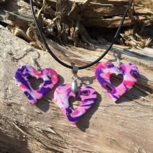 Sady šperkov - Srdiečková sada ružovo-fialová - 9876721_
