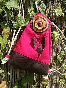 Batohy - Vak - zaťahovací/ s dekoráciou - ružový UPCYCLED - 9878549_