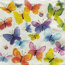 Papier - S1253 - Servítky - motýle, butterfly, pestrofarebné, krídla - 9877478_