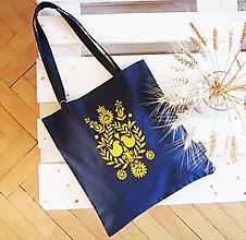 Nákupné tašky - Ekotaška maľovaná-modrá s žltým folk vzorom - 9878359_