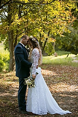 Šaty - svadobné dvojšaty celokrajkové biele - 9877887_