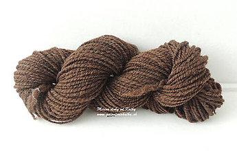 Materiál ručne robený - Hnedá vlna - ručne pradená 2 nitka - 9877490_