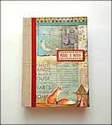 Ručne šitý sketchbook * diár * zápisník   Líška a noc A5