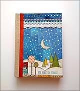 Diár Ručne šitý sketchbook * zápisník  STARRY NIGHT A5