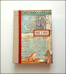 Papiernictvo - Ručne šitý sketchbook * diár * zápisník   Líška a noc A5 - 9878334_