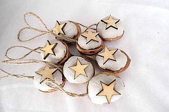 Dekorácie - Vianočné oriešky - ľanové s hviezdičkou - 9877757_