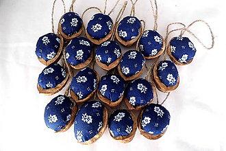 """Dekorácie - Vianočné oriešky"""" modrotlač """" - 9879014_"""