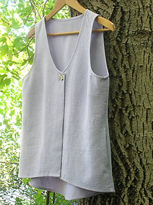 Iné oblečenie - Ľanová vestička fialková - 9879652_
