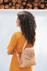 Batohy - Kožený batoh SHAPE botanic (reálna papraď) - 9877213_