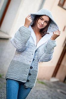 Svetre/Pulóvre - ručne pletený svetrokabát - 9879758_