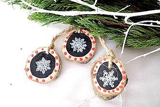 Dekorácie - Drevené vianočné ozdoby -sada 3 ks - 9877110_