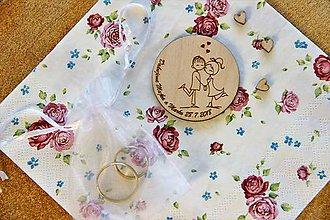 Darčeky pre svadobčanov - Drevená svadobná magnetka - 9879755_