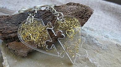 Kľúčenky - Kľúčenka pre pár puzzle srdce (zlaté srdiečka č. 2344) - 9879328_
