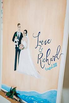 Papiernictvo - Ilustrácia novomanželov - .kniha hostí. - 9880261_