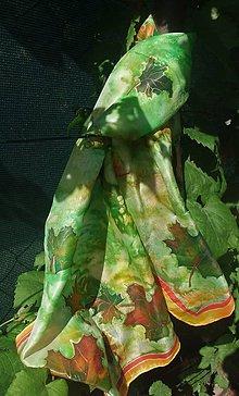 Šatky - Šál s javorovými farebnými listami - 9879991_