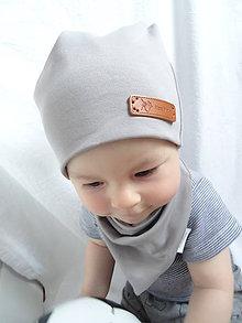 Detské čiapky - Sivý teplákový set - 9879727_