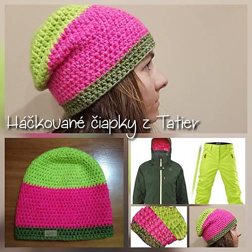 d478baae5 Hackovana zimna predlzena ciapka - neon / TATRY-handmade - SAShE.sk ...