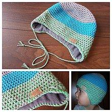 Detské čiapky - Detská merino čiapka cez uška - tyrkys/sivá s neon zelenou - 9880470_