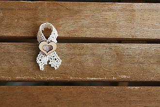 Pierka - Svadobné pierko Čipkovité s prírodným srdiečkom s výrezom - 9881412_