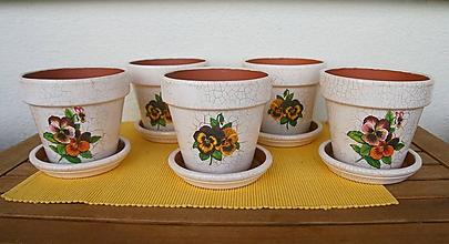 Nádoby - Sada kvetináčov so sirôtkami - 9881484_
