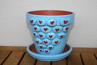 Nádoby - Kvetináč svietiaci Plné srdce kamienkov - 9881506_