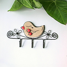 Nábytok - vešiak s vtáčikom (šípky) - 9881383_